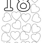 Number Eighteen Flashcard 18 Hearts The Learning Site