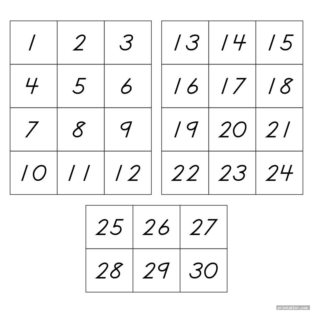 Number Flashcards 1 30 Printable Gridgit