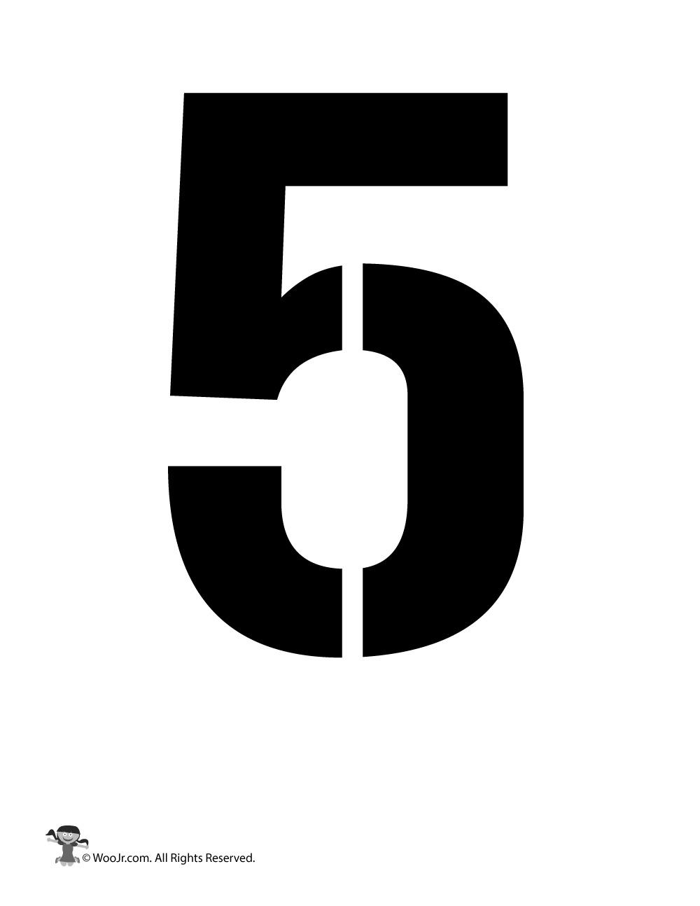 Number Stencil 5 Woo Jr Kids Activities