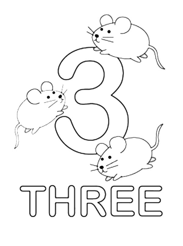 Number Three Learning To Write Simple Handwriting Number
