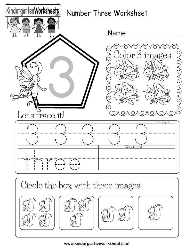 Number Three Worksheet Free Kindergarten Math Worksheet
