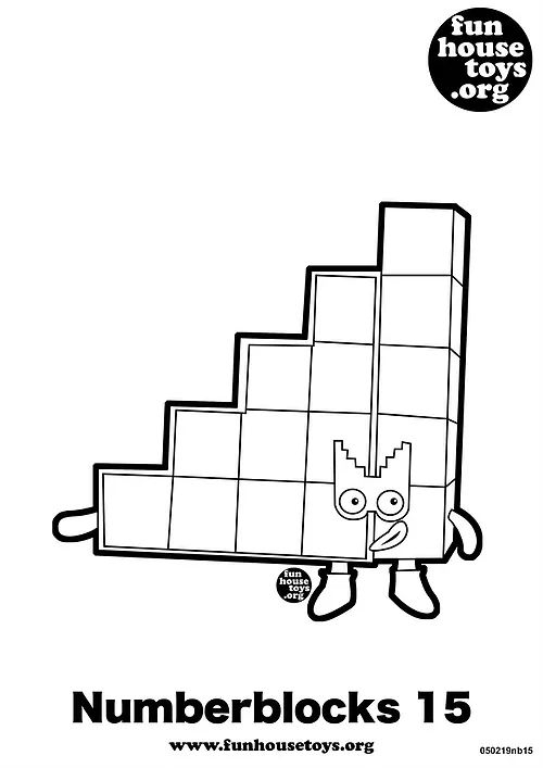Numberblocks 15 Printable Coloring Page Coloring Pages