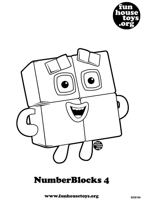 Numberblocks 4 Printable Coloring Page Unicorn Coloring