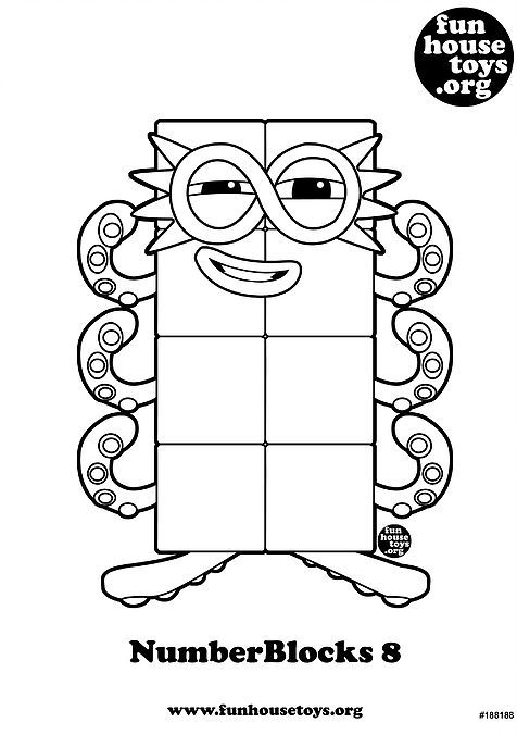 Numberblocks 8 Printable Coloring Page Coloring Pages