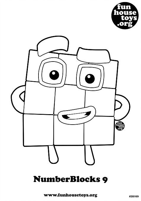 Numberblocks 9 Printable Coloring Page Coloring For Kids