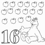 Numbers 16 Sixteen Coloring Pages Sesame Street Coloring
