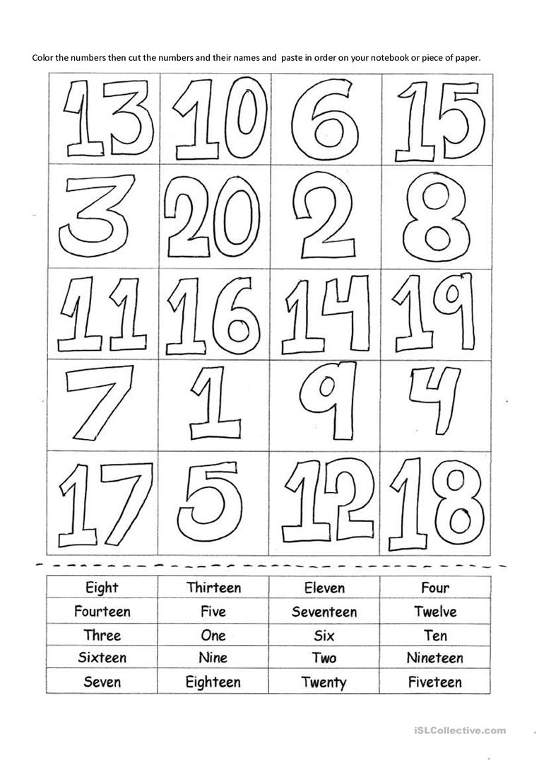 Ordinal Numbers Worksheet 1 20 NumbersWorksheet