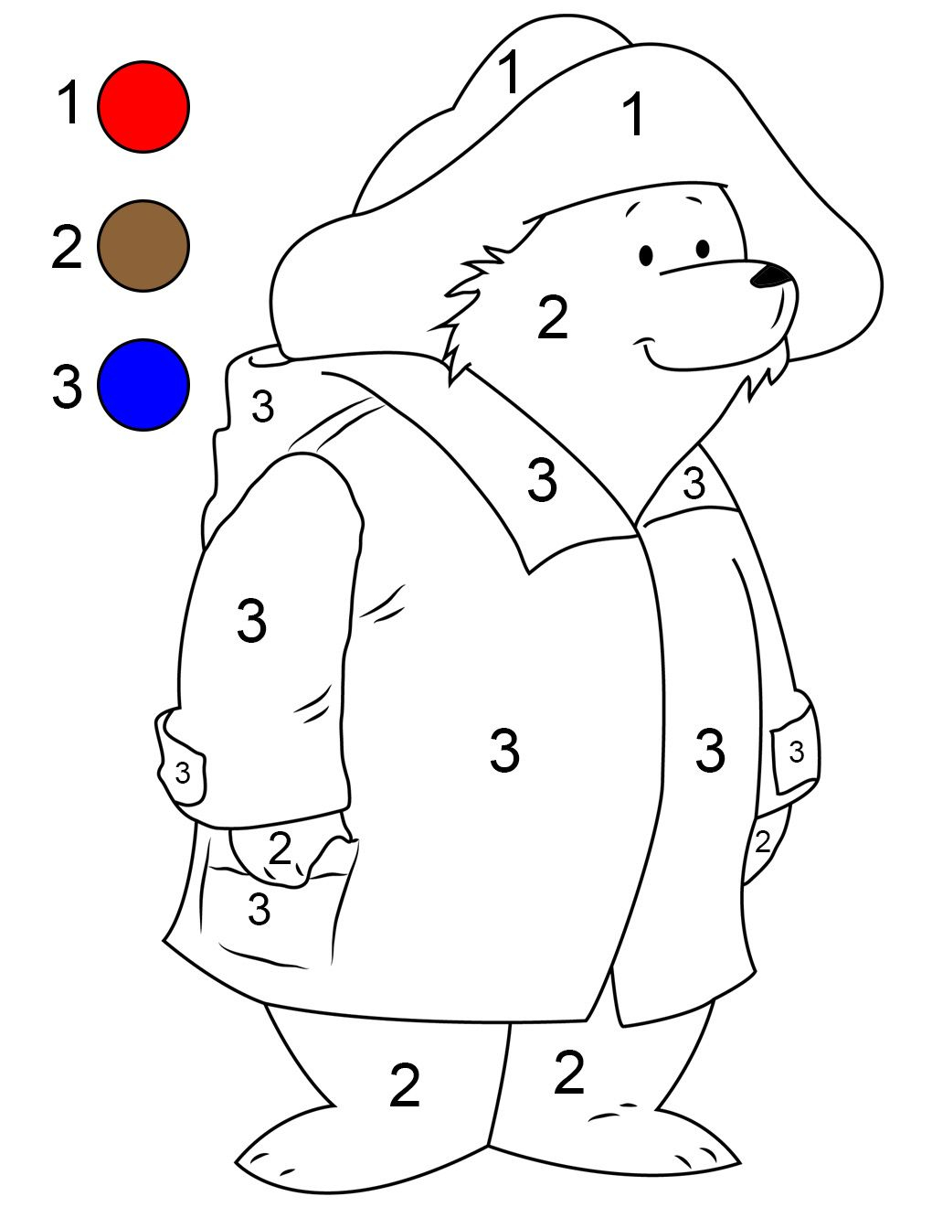 Paddington Paint By Number Printable Bear Coloring Pages