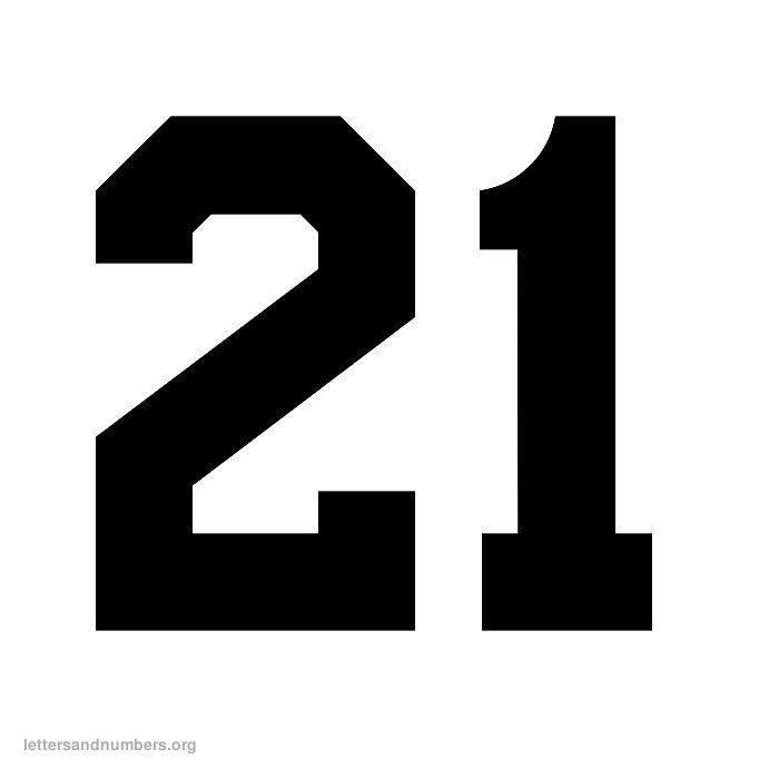 Printable 21 Number black Google Search Desain