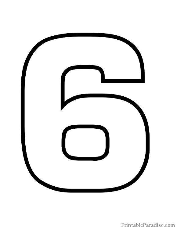 Printable Bubble Number 6 Outline Bubble Numbers