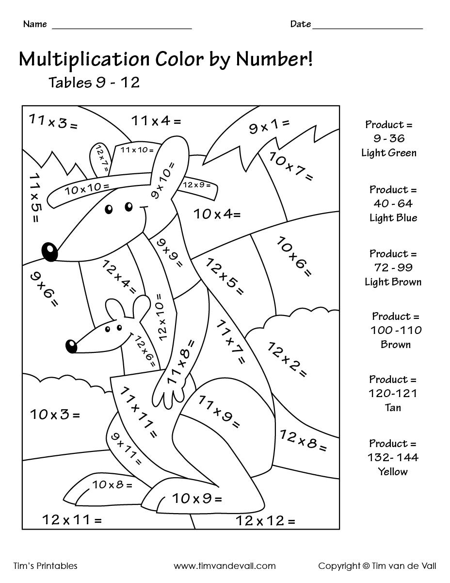 Printable Color By Number Multiplication Worksheets PDF