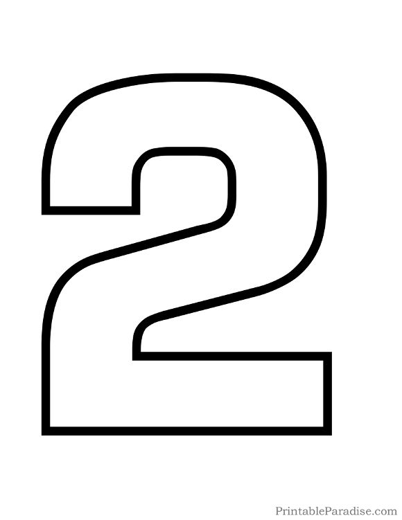 Printable Number 2 Outline Print Bubble Number 2