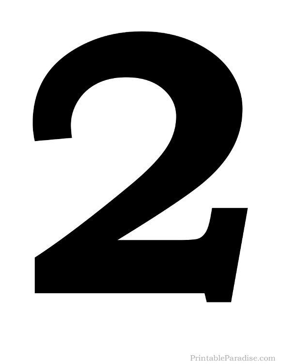 Printable Number 2 Silhouette Print Solid Black Number 2