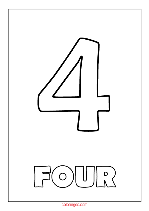 Printable Number 4 Four Coloring Page PDF For Kids