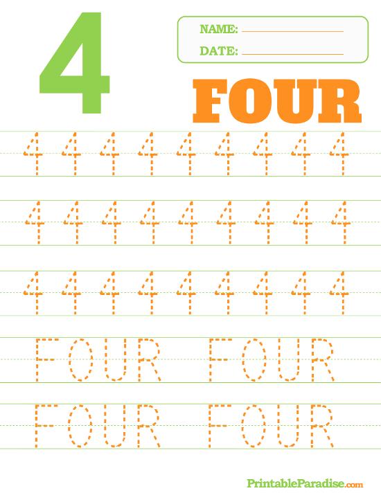 Printable Number 4 Tracing Worksheet Tracing Worksheets