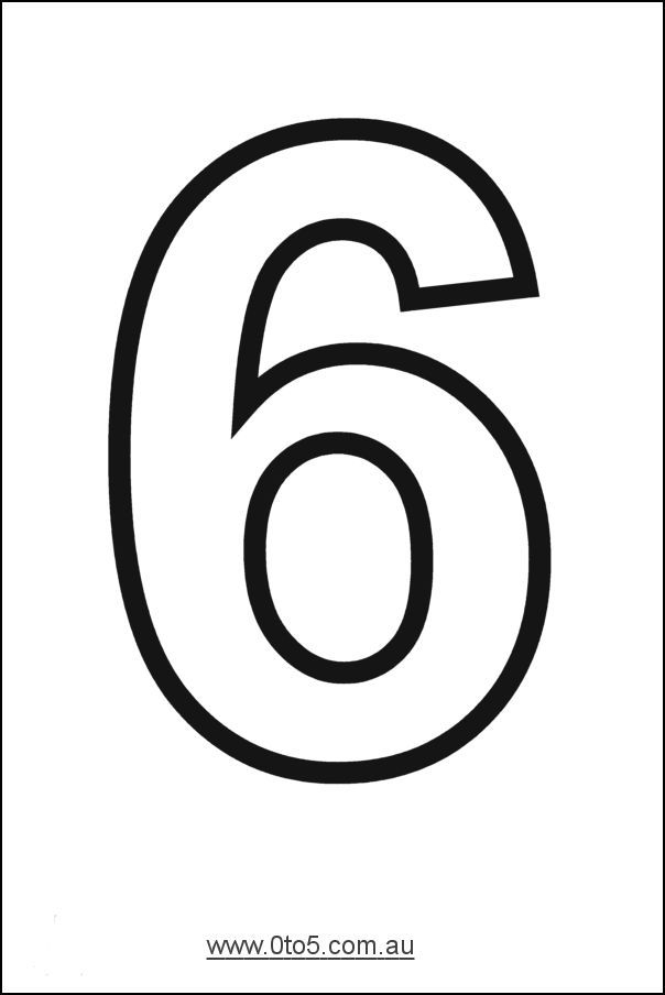 Printable Number 6 Template Large Printable Numbers