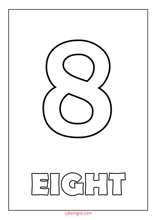 Printable Number 8 Eight Coloring Page PDF For Kids