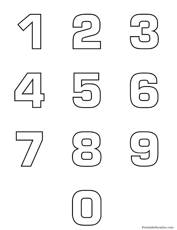 Printable Number Outlines 0 9 On One Page Stencils