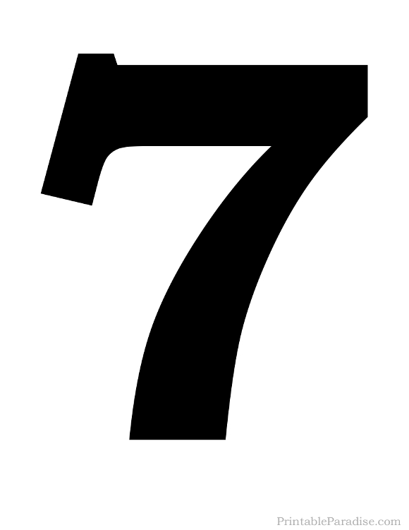 Printable Solid Black Number 7 Silhouette Numerologie