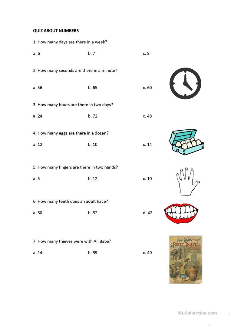 Quiz About Numbers Worksheet Free ESL Printable