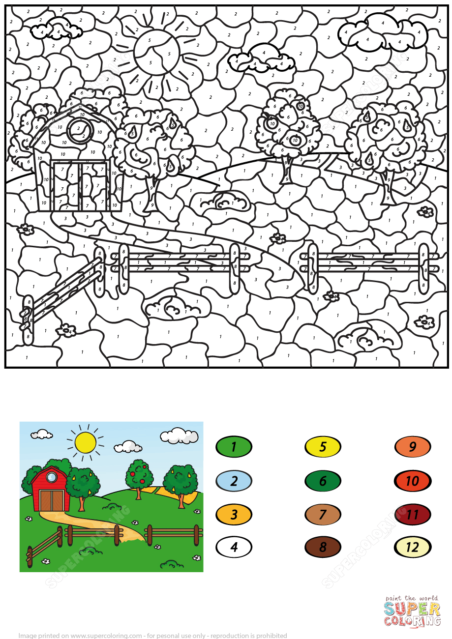 Rural Landscape With Barn Fruit Trees And Fields Color By