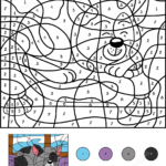 Sleepy Cat Color By Number Free Printable Coloring Pages