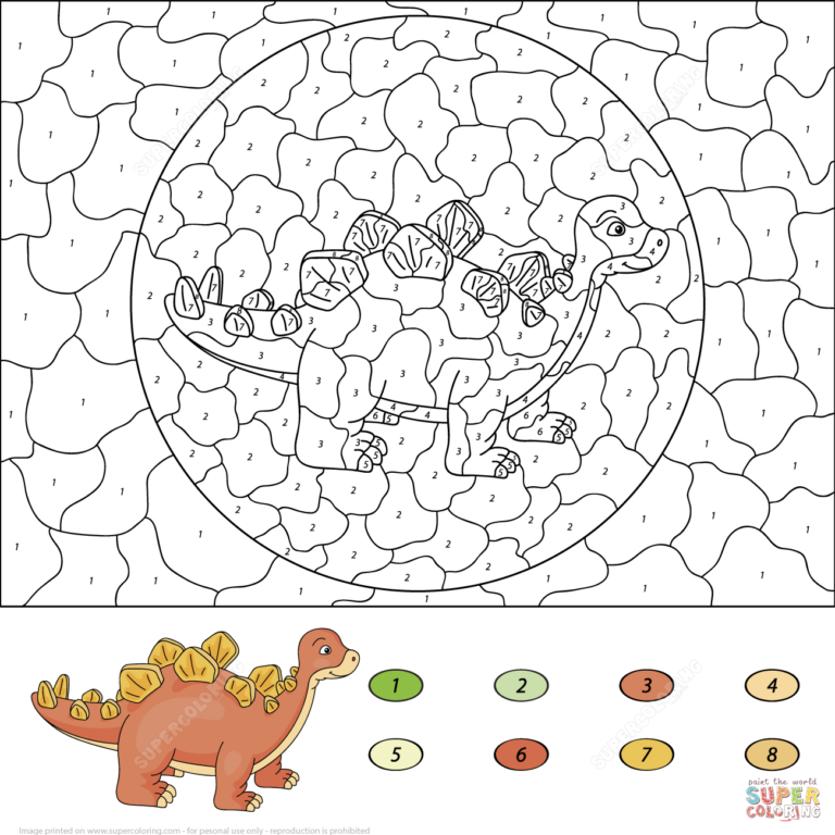 Stegosaurus Color By Number Free Printable Coloring Pages