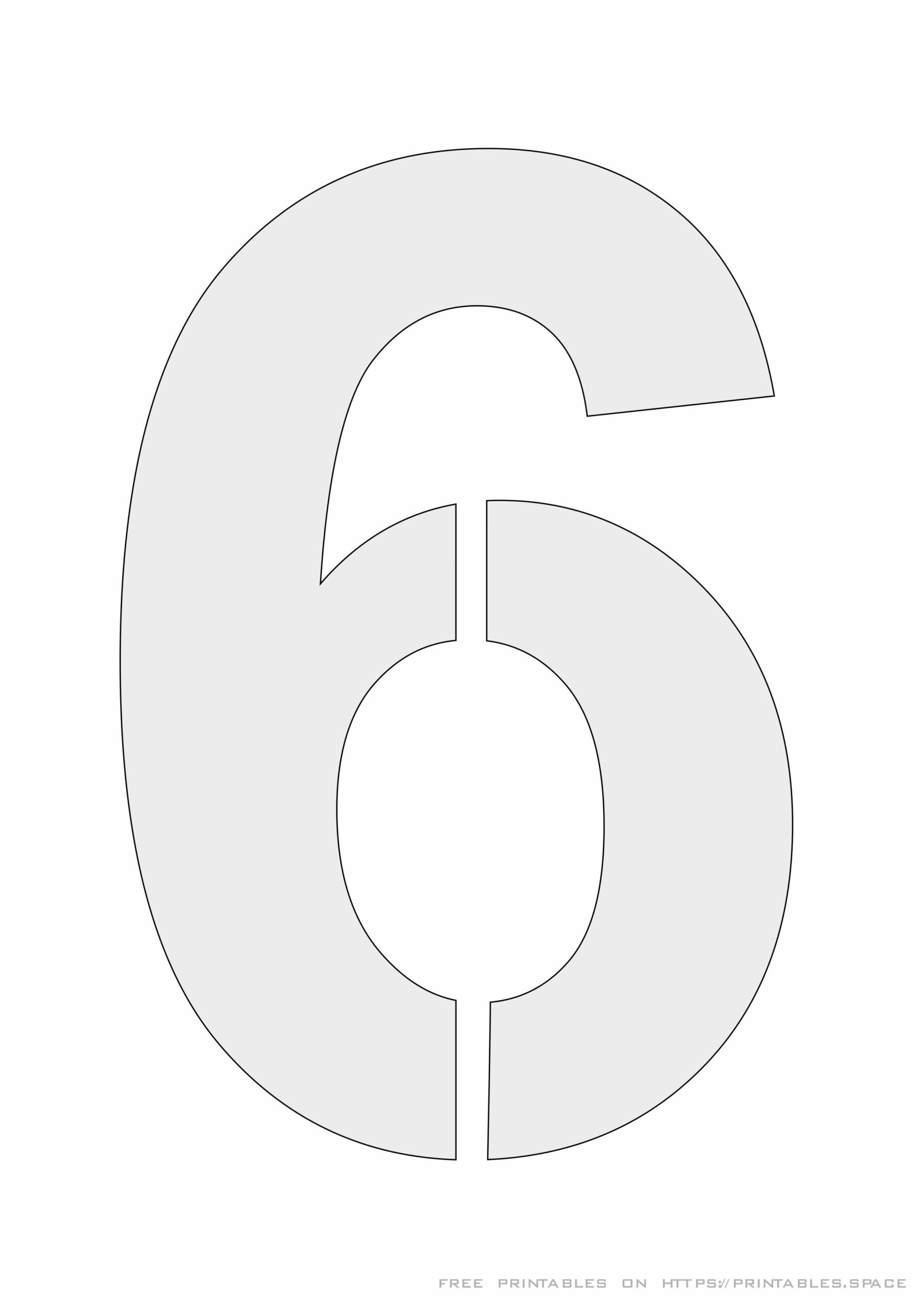 Stencil Number 6 For Painting Free Printable Template