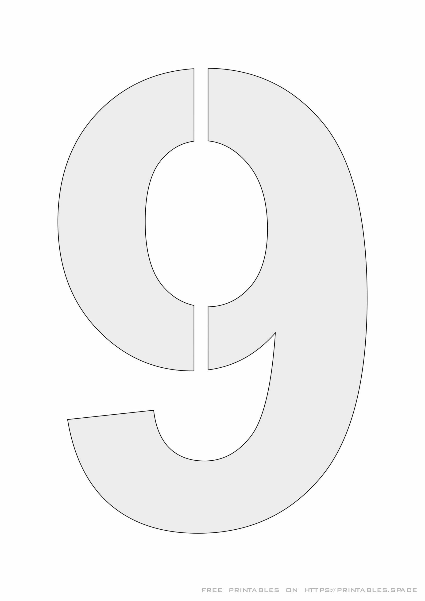 Stencil Number 9 Printable A4 Size Template Free