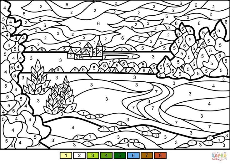 Summer Landscape Color By Number Super Coloring