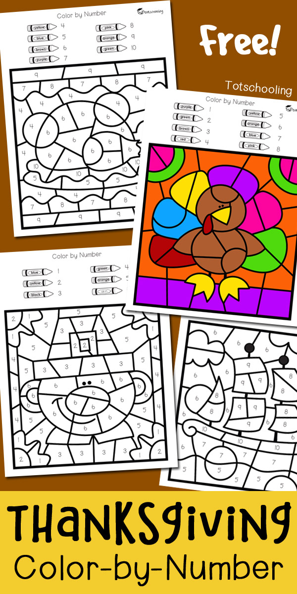 Thanksgiving Color By Number Totschooling Toddler