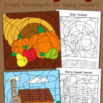 Thanksgiving Color By Number Worksheets Mamas Learning