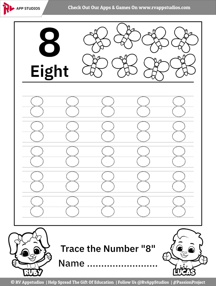 Trace Number 8 Worksheet For FREE For Kids