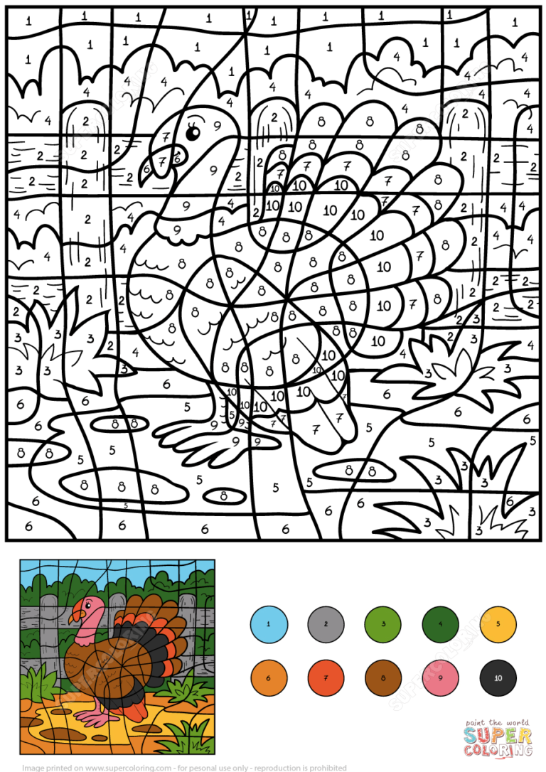 Turkey Color By Number Free Printable Coloring Pages