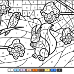 Winter Scene Color By Number Free Printable Coloring Pages